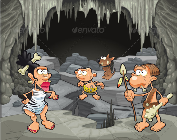 Prehistoric Family in the Cavern