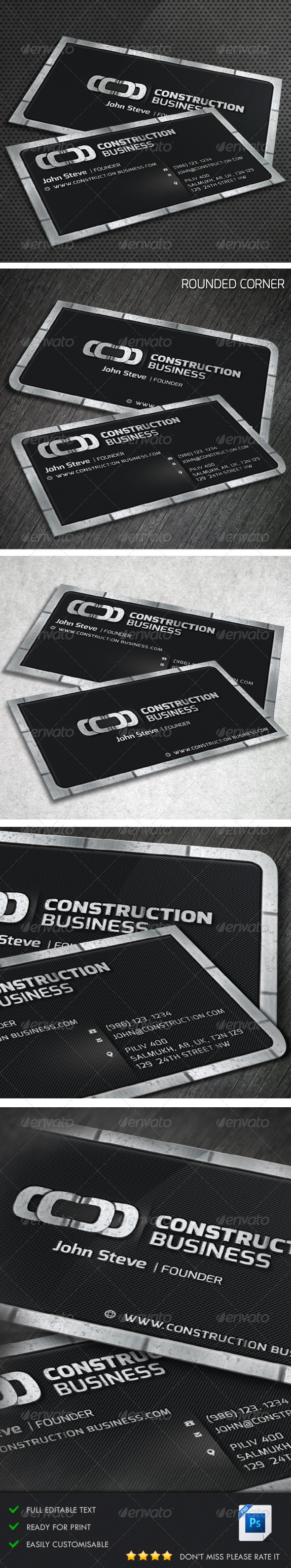 GraphicRiver Construction Metalic Business Card 5384467