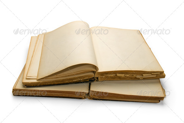 Open ancient book with blank pages, isolated on white background - Stock Photo - Images