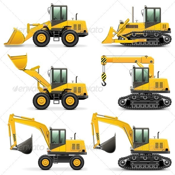 GraphicRiver Vector Construction Machines Set 3 5414173