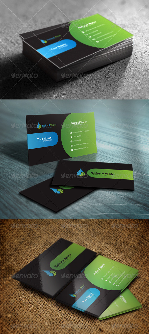 GraphicRiver Natural Water Business Card 5414503