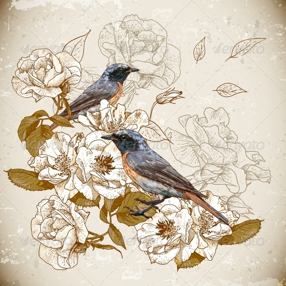 GraphicRiver Vintage Floral Background with Birds 5414782