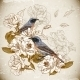 Vintage Floral Background with Birds - GraphicRiver Item for Sale