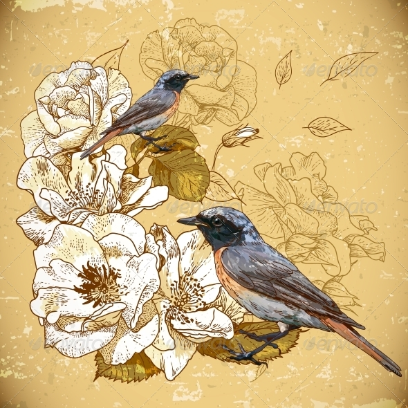 GraphicRiver Vintage Floral Background with Birds 5414842