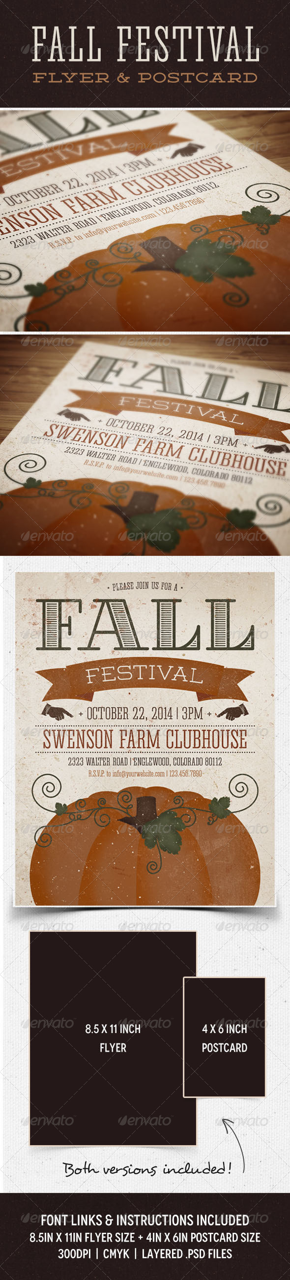 Fall Festival Flyer & Postcard - Events Flyers