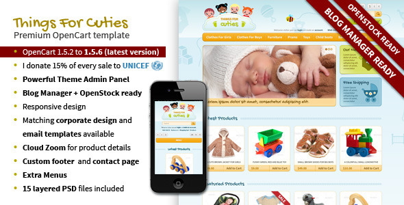 ThingsforCuties Responsive OpenCart Baby Template - OpenCart eCommerce
