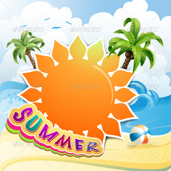 GraphicRiver Background Over Summer Beach 5414977