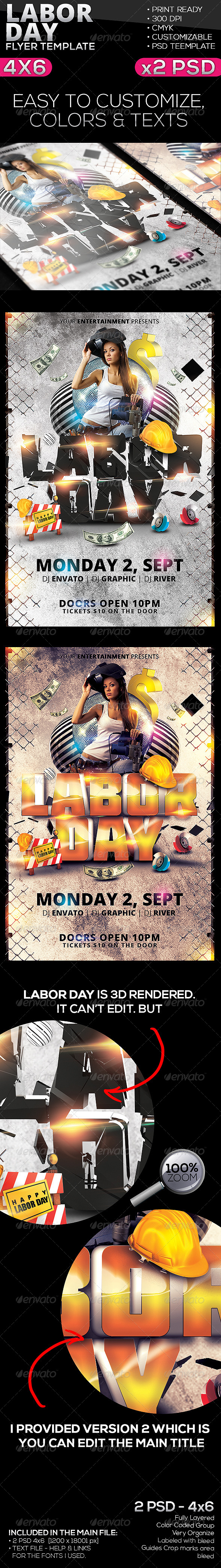 Labor Day Flyer Template - Clubs & Parties Events