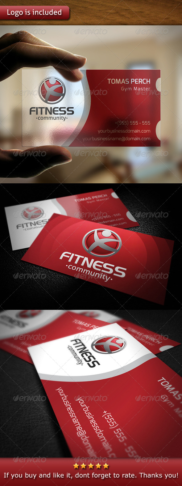 GraphicRiver Fitness Logo Business Card 5415419