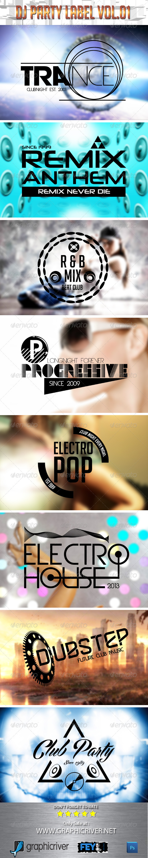 GraphicRiver Dj Party Label Vol.01 5415574