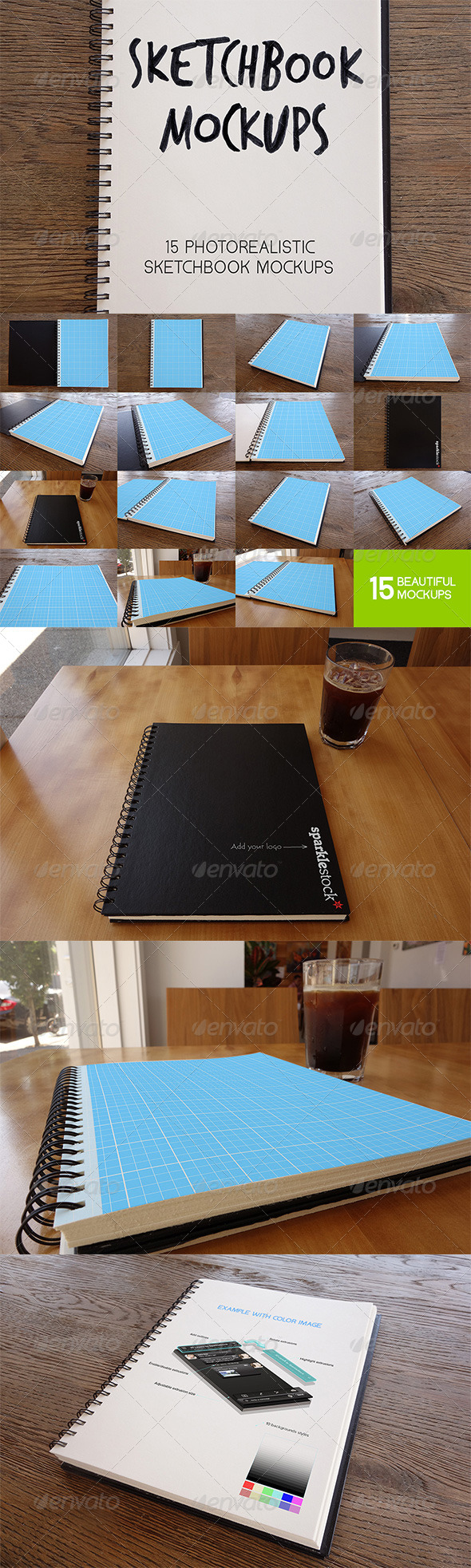 GraphicRiver 15 Photorealistic Sketchbook Mockups 5332707