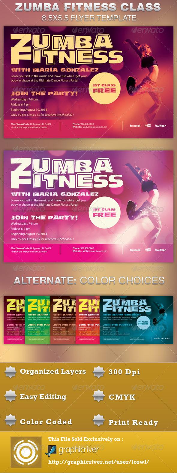 Zumba Fitness Class Flyer Template