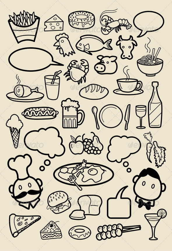 Restaurant Icon Sketches - Man-made objects Objects