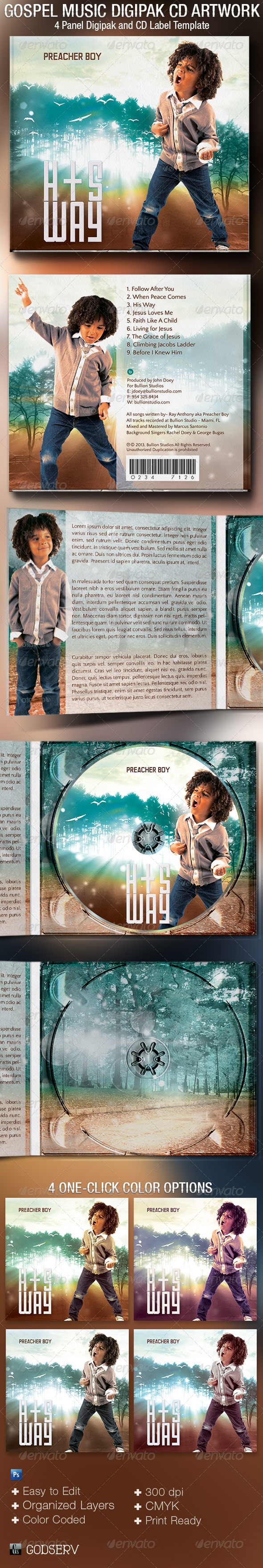 GraphicRiver Gospel Music 4 Panel Digipak CD Artwork Template 5378136