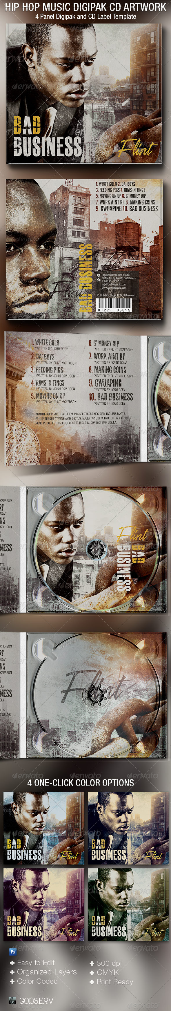 Hip Hop 4 Panel Digipak CD Artwork Template - CD & DVD Artwork Print Templates