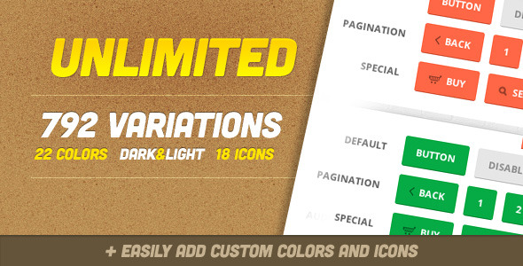 CodeCanyon Unlimited 792 Flat Multipurpose CSS3 Buttons 5416705