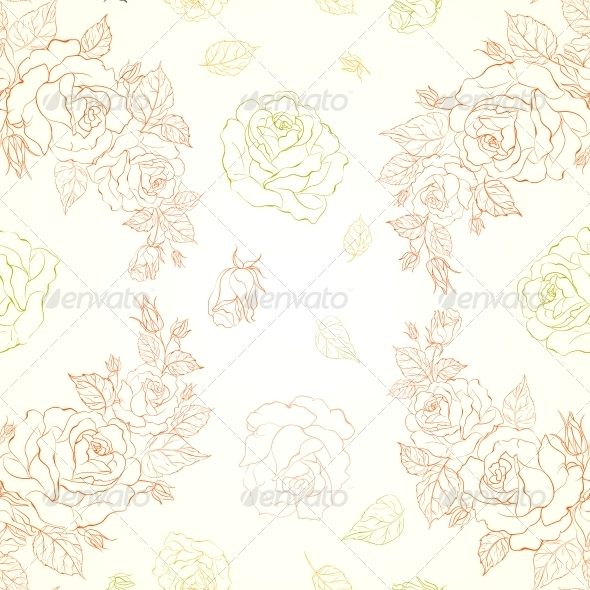 GraphicRiver Elegant Seamless Pattern with Roses 5417811