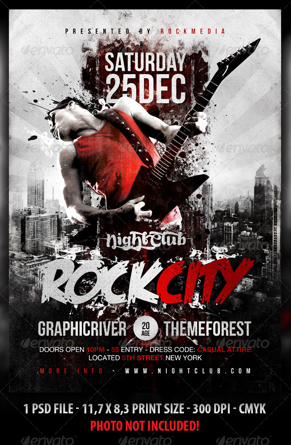 GraphicRiver Rock City Concert Flyer Poster 5295374