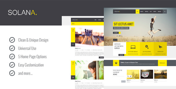 Solana – Multipurpose PSD Template - Corporate PSD Templates