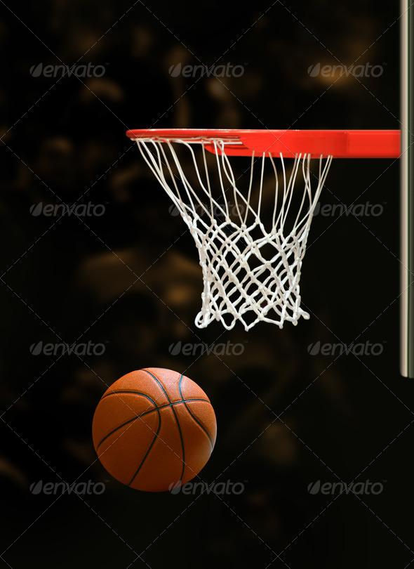 Basketball board and basketball ball on black background