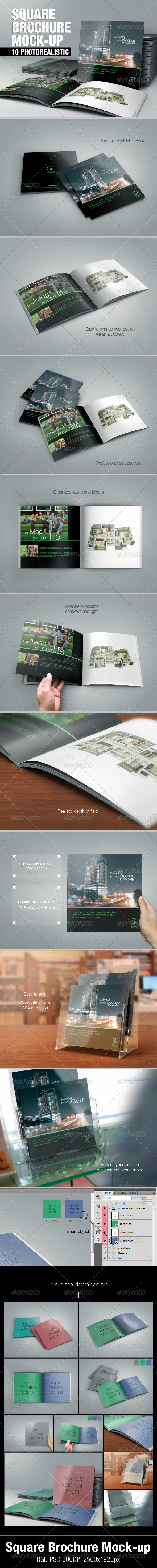 GraphicRiver Square Brochure Mock-up 5419620