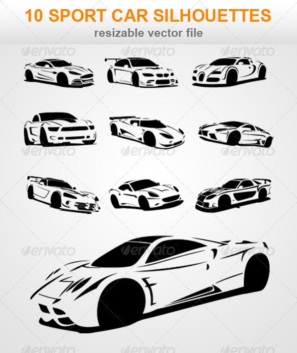 10 Sport Car Silhouettes
