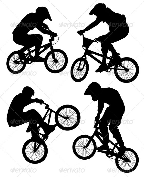 GraphicRiver Cycling BMX Silhouette 5419778