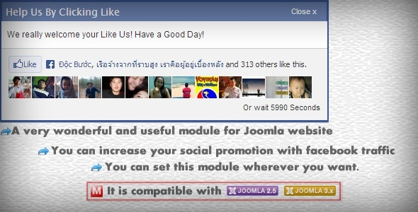 CodeCanyon Facebook Traffic Popup Module for Joomla 5420407