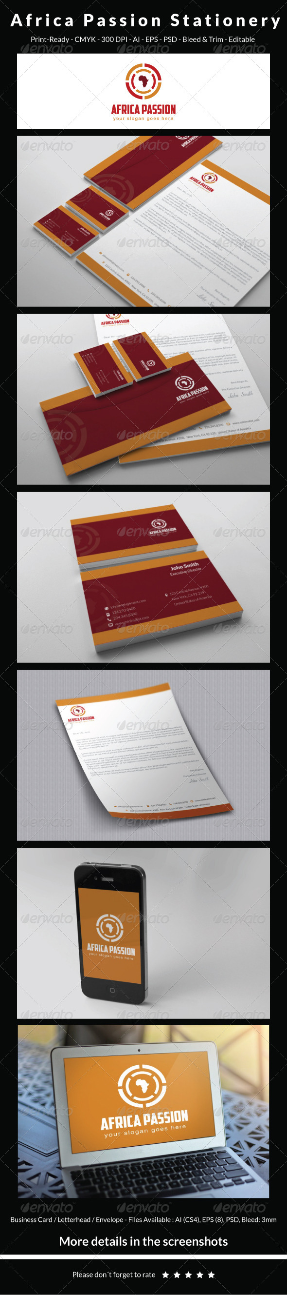 GraphicRiver Africa Passion Stationery 5395053