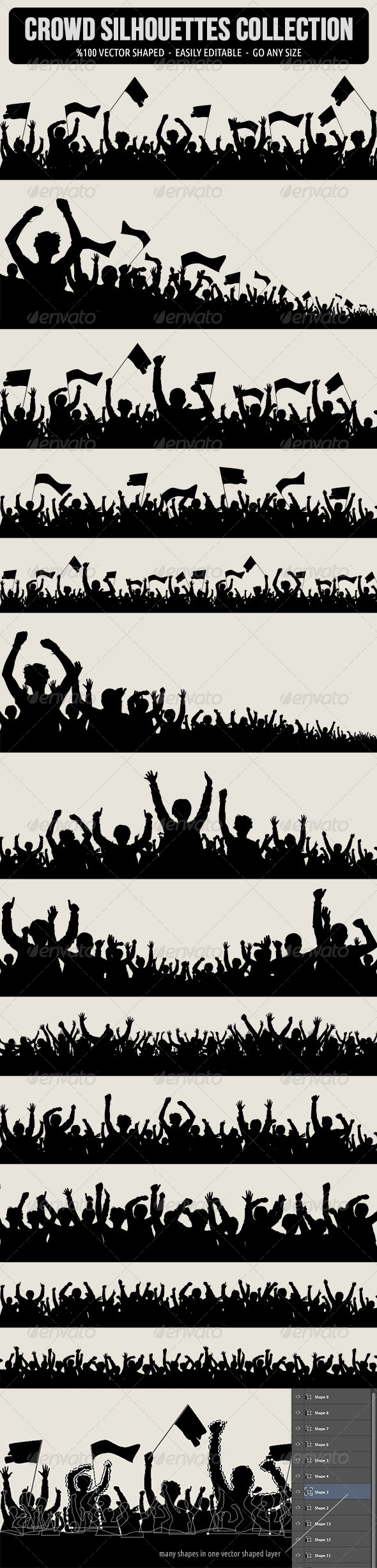 Crowd Silhouettes - People Characters