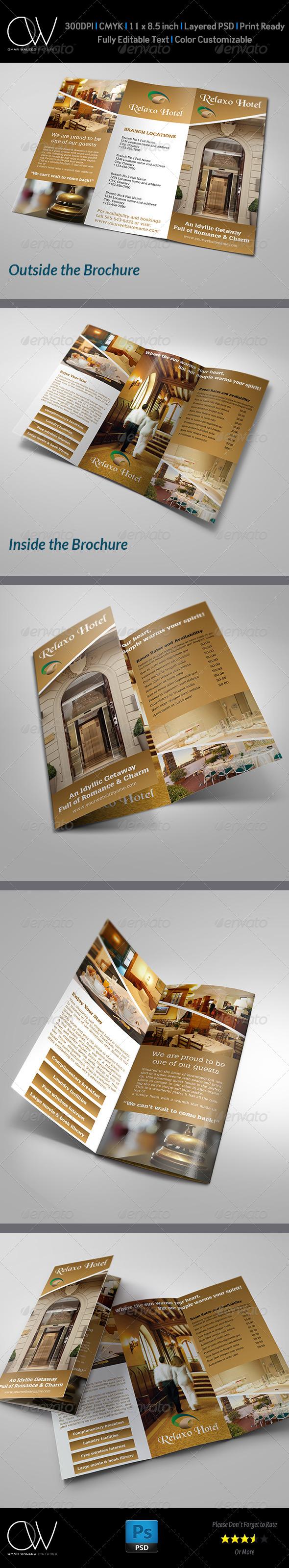 GraphicRiver Hotel and Motel Tri-Fold Brochure Template 5354750