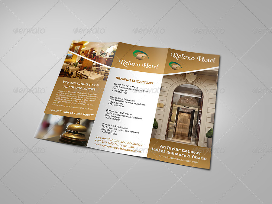 Hotel and motel tri fold brochure template by owpictures for Hotel brochure design templates