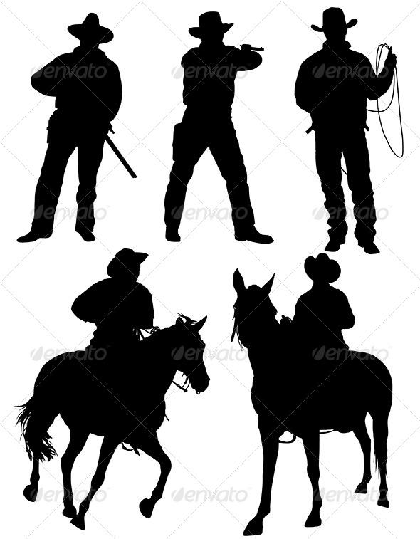 GraphicRiver Cowboy Silhouette 5420763