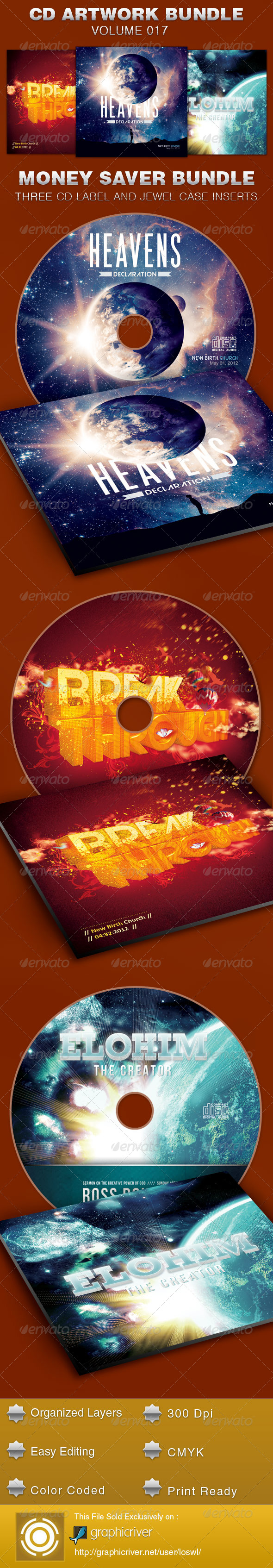 CD Cover Artwork Template Bundle-Vol 017 - CD & DVD artwork Print Templates