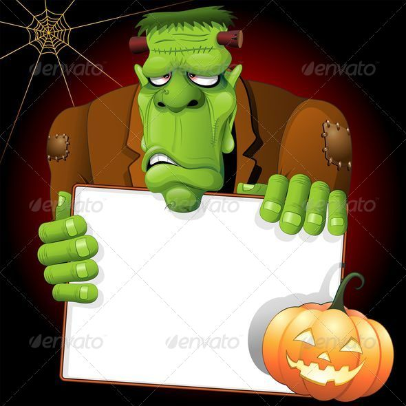 GraphicRiver Frankenstein Cartoon with White Panel and Pumpkin 5415594