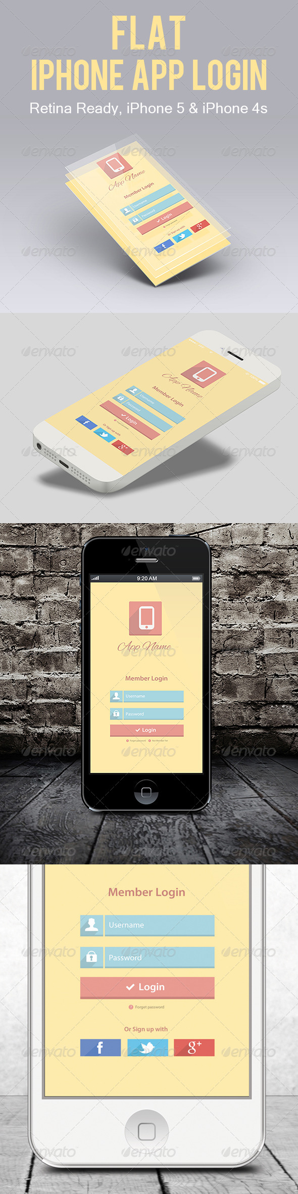 GraphicRiver Flat iPhone App Login 5421879