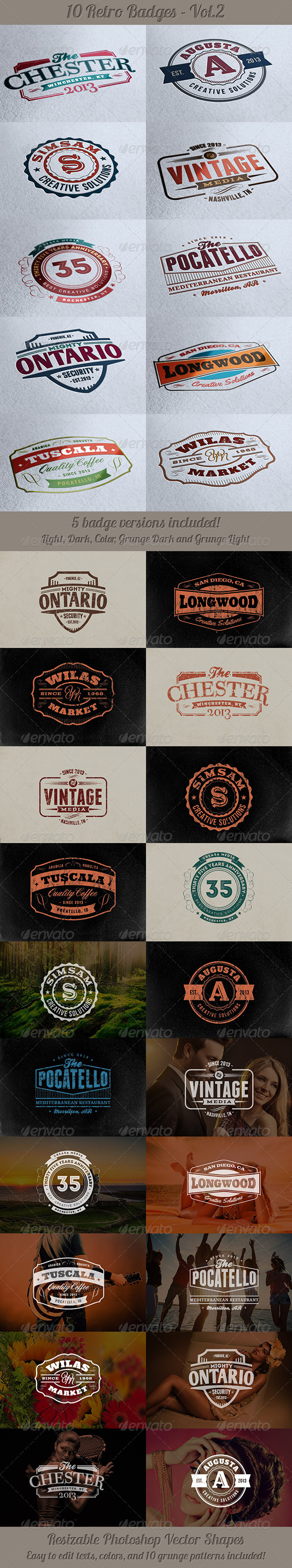 10 Retro Signs or Badges v.2 - Badges & Stickers Web Elements