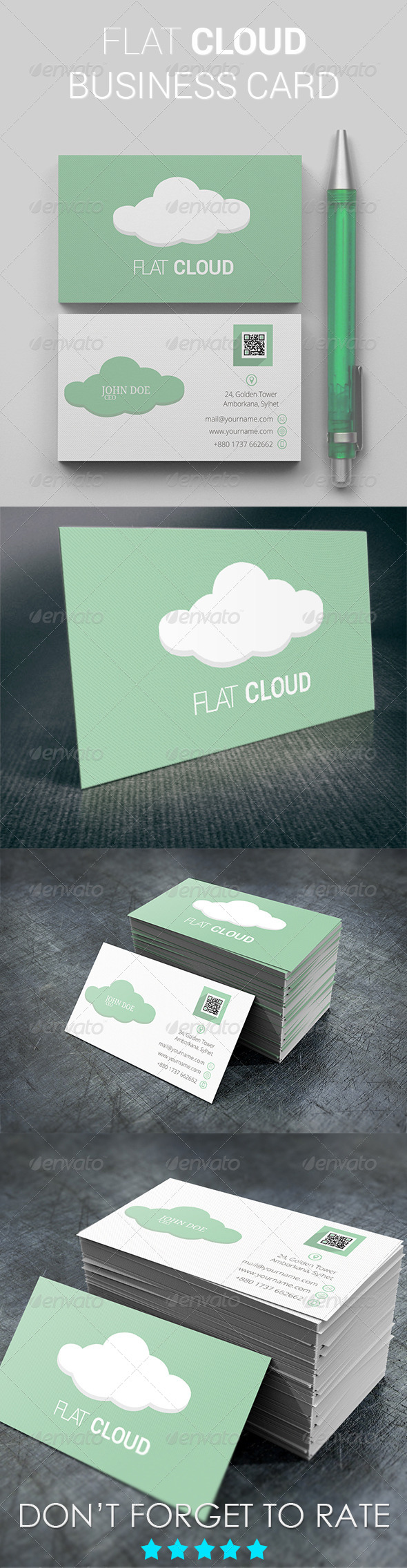 GraphicRiver Flat Cloud Business Card 5422456