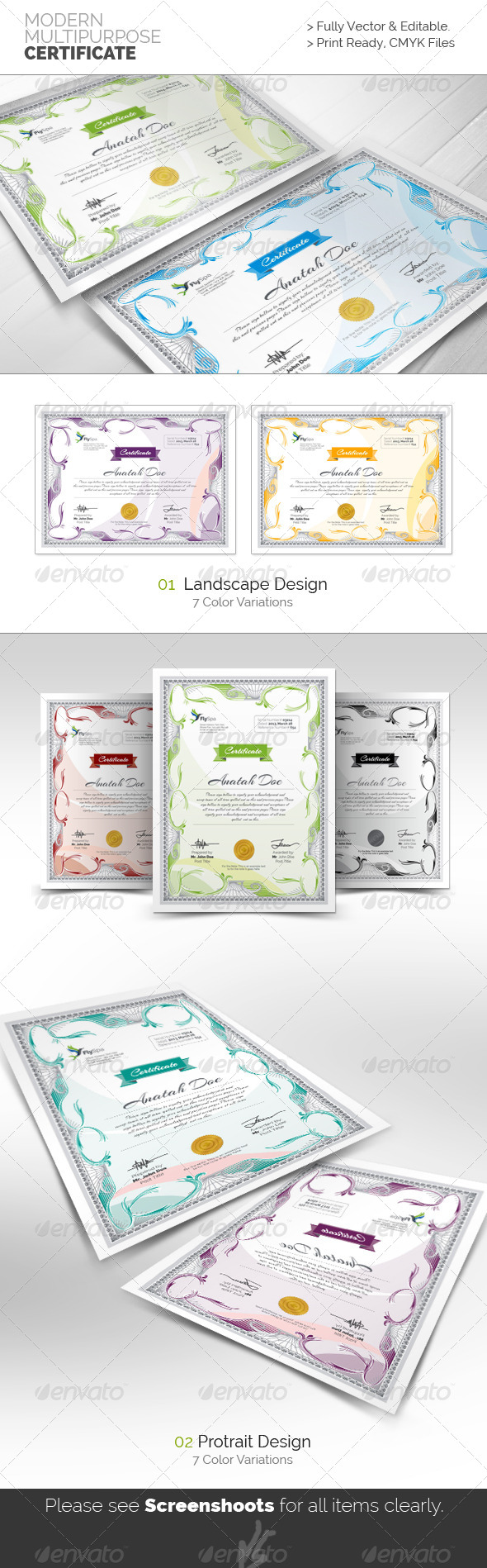 GraphicRiver Modern Multipurpose Certificates v2 5422490