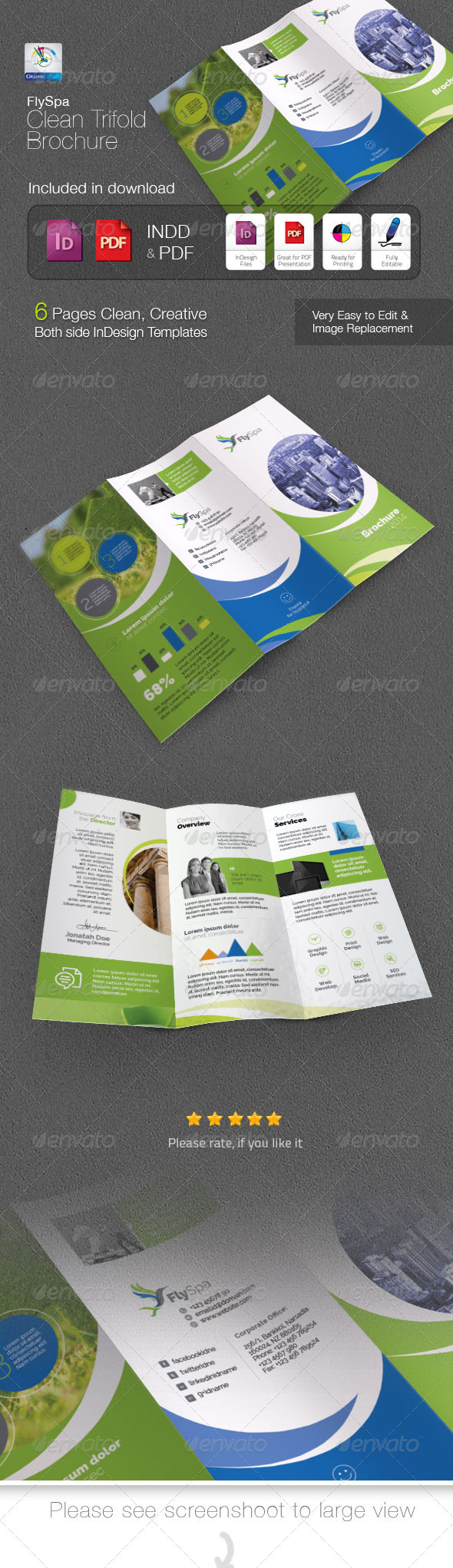 GraphicRiver FlySpa Clean Trifold Brochure 5422676