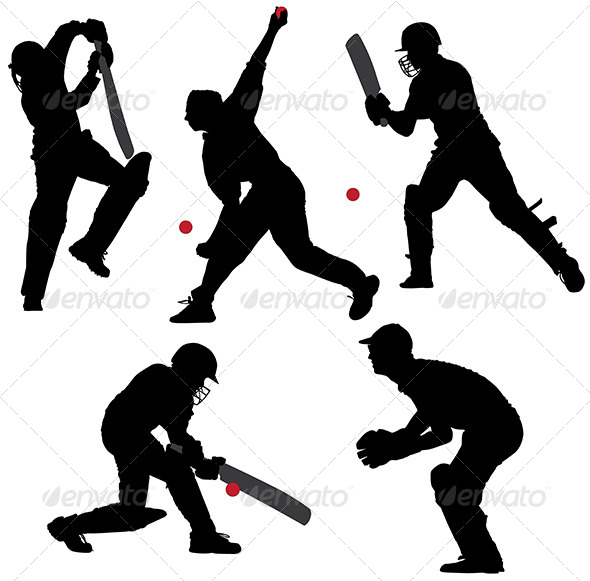 GraphicRiver Cricket Sport Silhouette 5422783