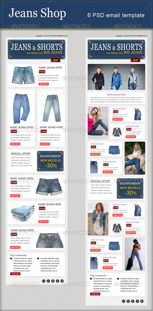 GraphicRiver Jeans Shop PSD Email Template 5422795