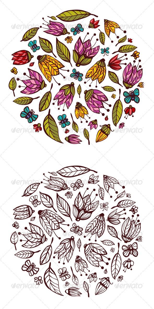 GraphicRiver Flowers Ornament Circle Background 5422952