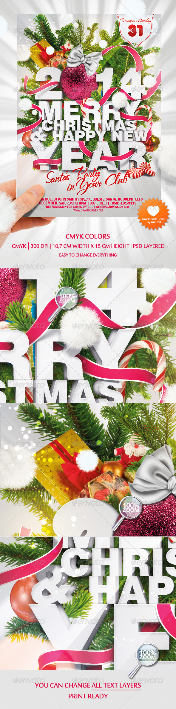 Happy Christmas and New Year Party Flyer - Clubs & Parties Events