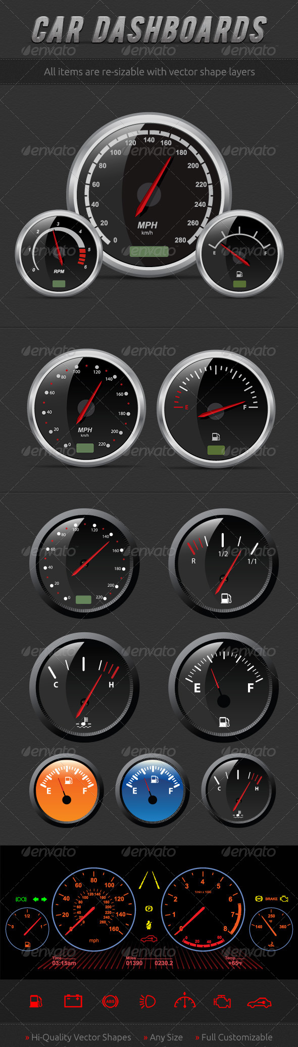 Speedometers - Objects Vectors