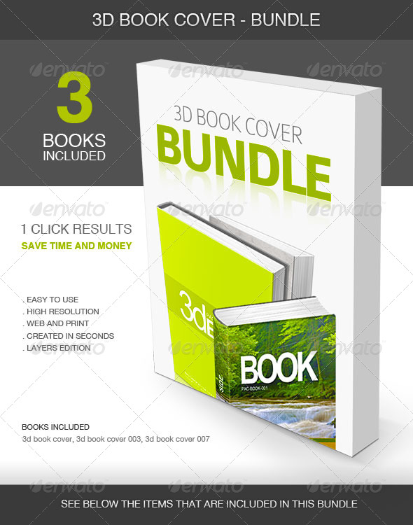 GraphicRiver 3D Book Cover Bundle 5423283
