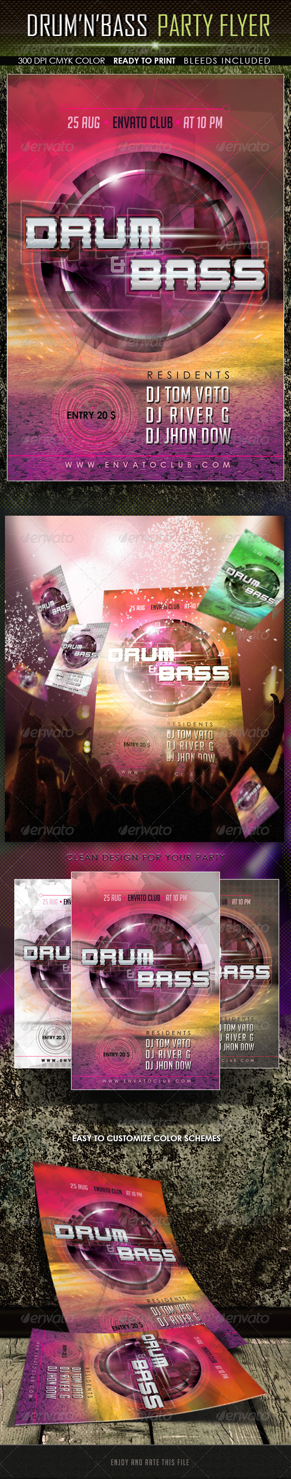 GraphicRiver Drum And Bass Party Flyer 5396123