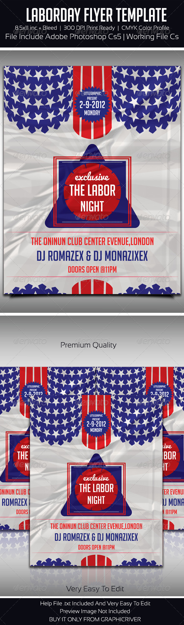 USA Labor Day Party Flyer Template - Flyers Print Templates