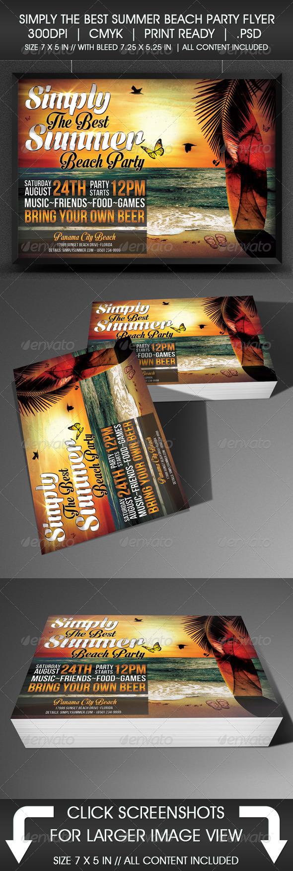 Simply The Best Summer Beach Party Flyer - Flyers Print Templates