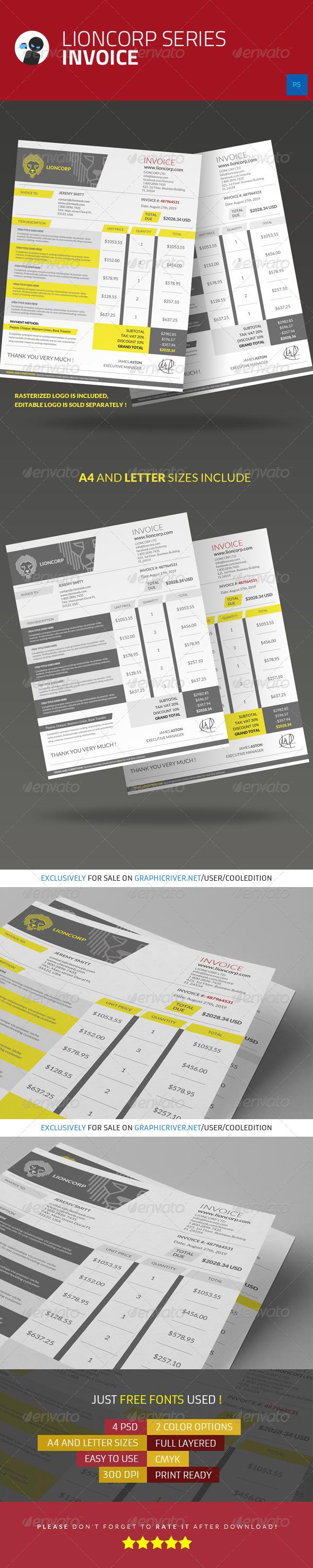 Lioncorp Series Invoice
